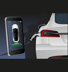 mobile phone with charging electric car vector image