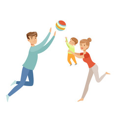 Mom dad and their little son playing ball vector