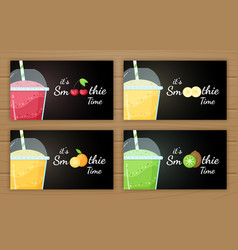 Natural smoothie fruit shake logo set vector