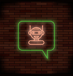 Neon chat bot on brick background artificial vector
