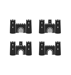 old castle icon set vector image