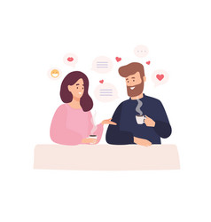 pair adorable man and woman sitting at cafe vector image