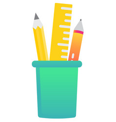 Pencil and pen in box cup holder icon vector