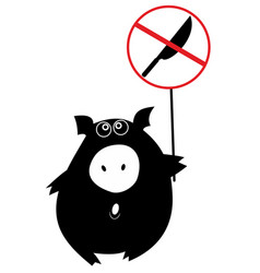 Pig fights for his rights isolated vector