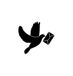 postal dove pigeon black vector image