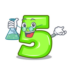 Professor cartoon house number five on wall vector