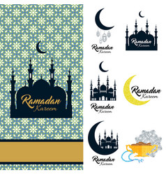 Ramadan kareem icon set card with mosque and vector