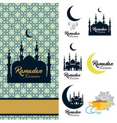 ramadan kareem icon set card with mosque vector image