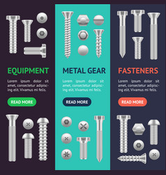 Realistic screw different shapes banner vecrtical vector