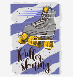 roller skating poster design with a classic model vector image