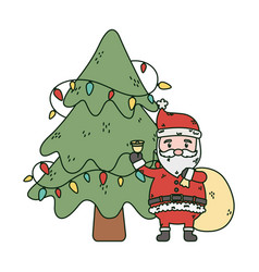 Santa with bag bell and tree lights celebration vector