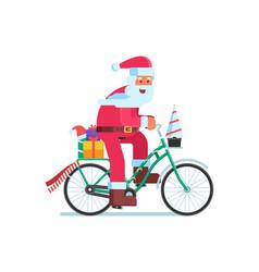Santa with gift bag on christmas bike vector