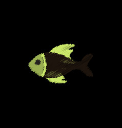 Sea fish in hatching style vector