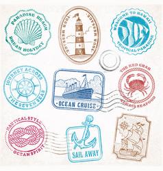 sea journey vintage stamps vector image