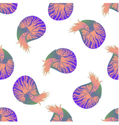 seamless pattern with colorful nautilus animals vector image
