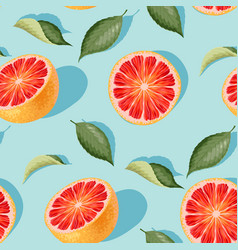 seamless pattern with grapefruit slices and leaves vector image