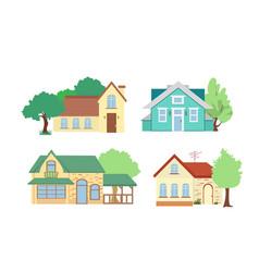 set cottage houses vector image
