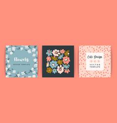 set floral design template for card vector image