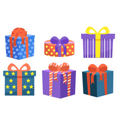 Set gifts decorated with bows ribbon vector