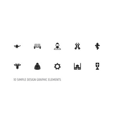 set of 10 editable faith icons includes symbols vector image