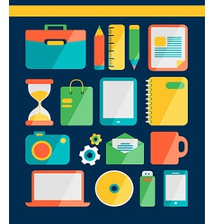 Set of flat icons for freelancer vector image