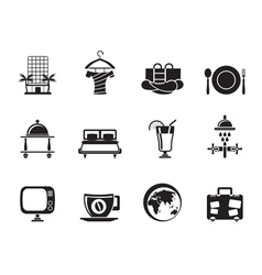 Silhouette Hotel and holidays icons vector image