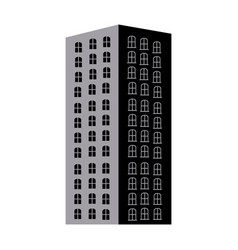 silhouette monochrome with apartment building vector image