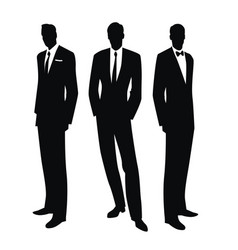 silhouettes three men in retro style of vector image
