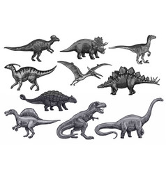 sketch dinosaurs icons set vector image