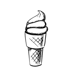 Soft ice cream in waffle cone sketch vector image