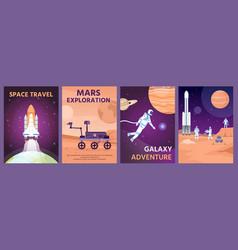 space exploring poster galaxy landscape vector image
