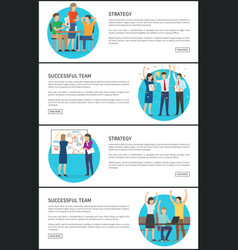 successful team and strategy promo internet pages vector image