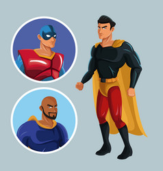Superhero protecting justice characters comic vector