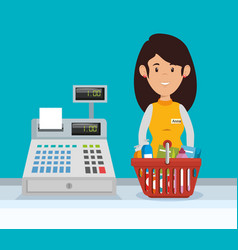 Supermarket seller woman character vector