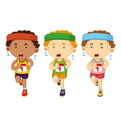 Three runners running in race vector image