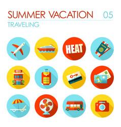 traveling flat icon set summer vacation vector image