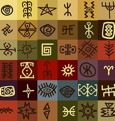 Tribal ethnic symbols background vector
