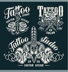 Vintage monochrome tattoo salon emblems vector