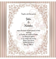 Wedding card template with frame and elegant vector image