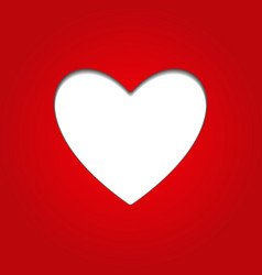 white blank heart with shadow isolated on red back vector image