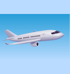 white cartoon airplane flying in sky vector image