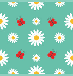 white daisy chamomile red butterfly insect cute vector image