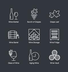 Wine icons grey vector