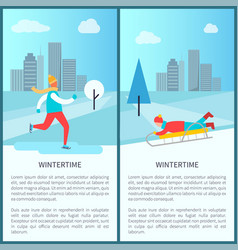 wintertime activities posters vector image