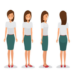 Woman character constructor for different view vector
