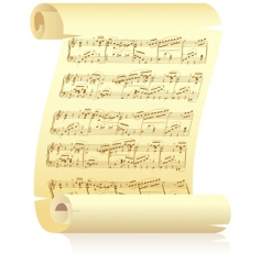yellow scroll with musical notation vector image