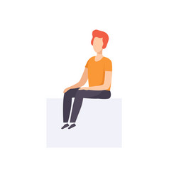 Young man sitting in casual clothes side view vector