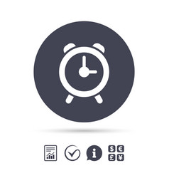 Alarm clock sign icon wake up alarm symbol vector