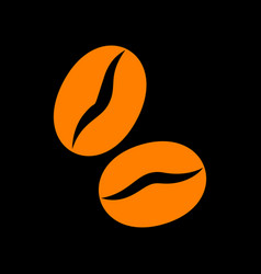 coffee beans sign orange icon on black background vector image