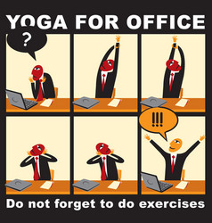 comic with a businessman who does yoga exercises vector image vector image